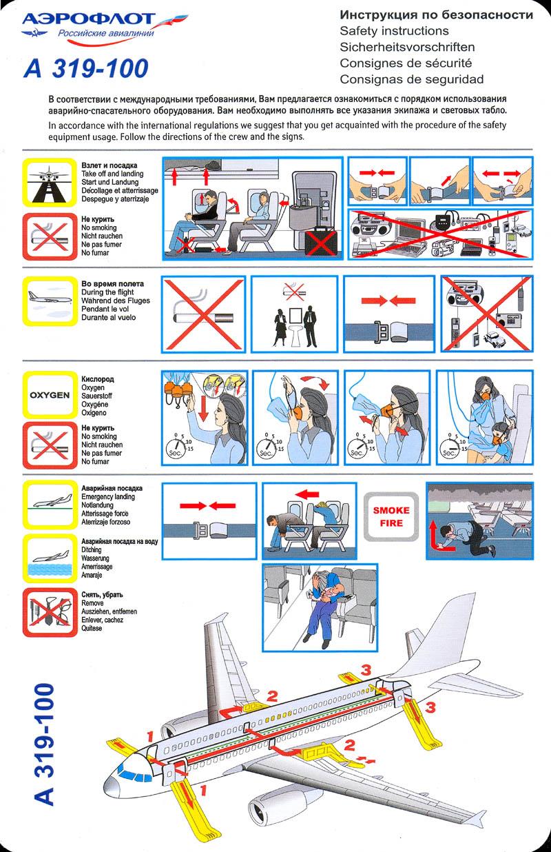Инструкция безопасности на борту самолета
